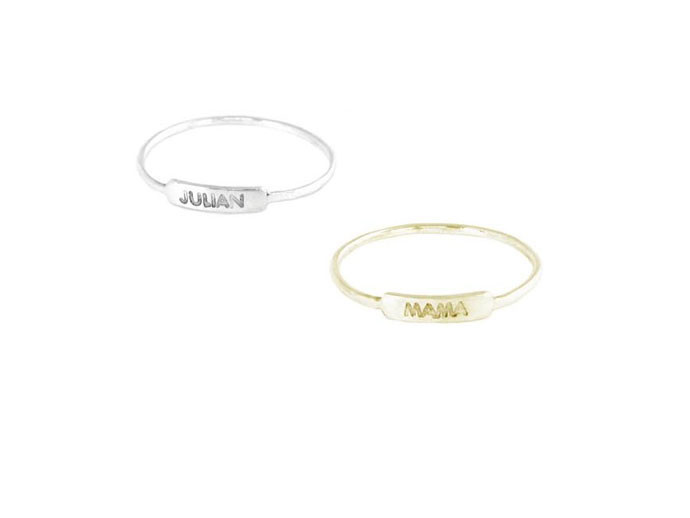 mother's day gift: tiny custom nameplate rings | cool mom picks