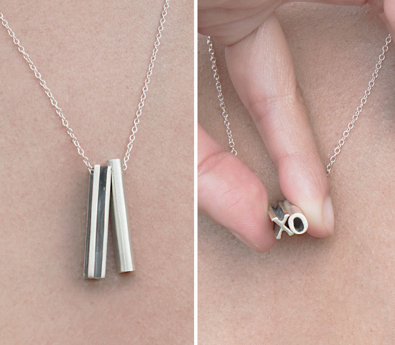 Two Letter Hidden Message Necklace - Beth Macri Designs | Cool Mom Picks