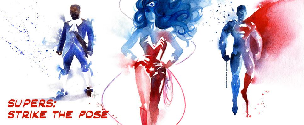 sophisticated superhero watercolor art at Blule gallery