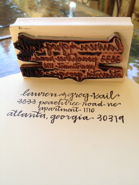 custom address stamp by hard ink calligraphy