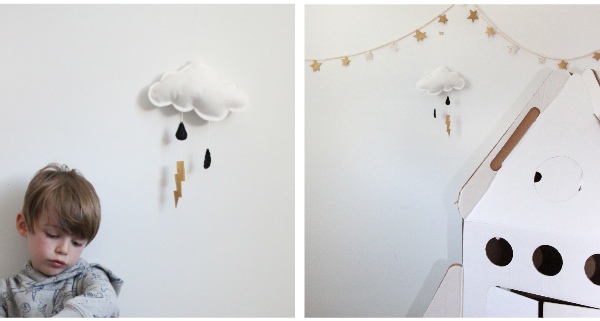 Handmade cloud mobile with lightning bolts by Jahje Ives