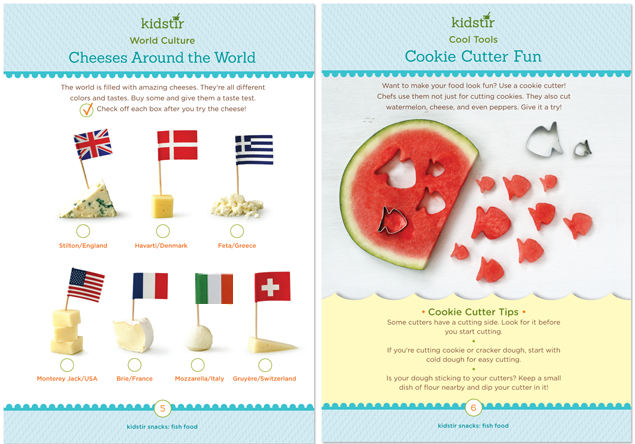 Kidstir monthly kids' cooking kits - info cards
