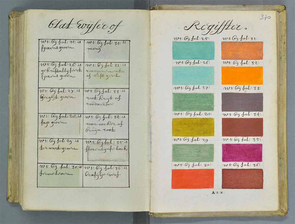 Medieval Pantone color swatch book
