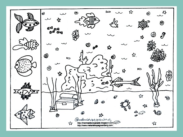 Free printable summer coloring pages: Make your own sea life world from children's book illustratorMelanie Hope Greenberg