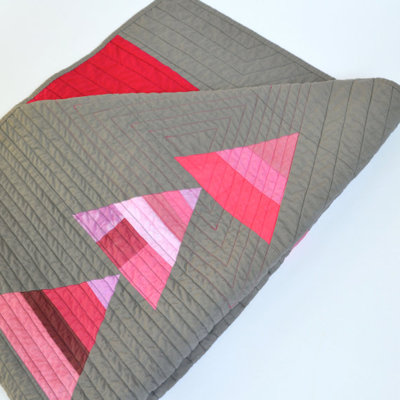 Twiggy and Opal Pink Diamond Handmade Modern Baby Quilt | Cool Mom Picks