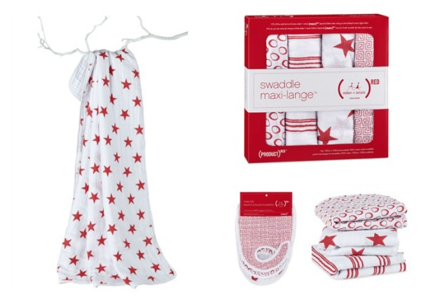 aden and anais for PROJECT (RED) swaddle collection