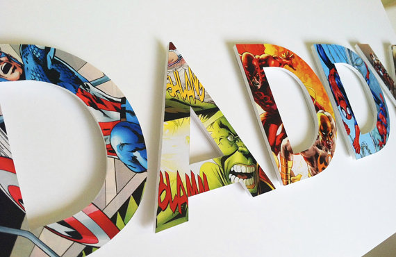 Custom superhero comic book letters on Cool Mom Picks