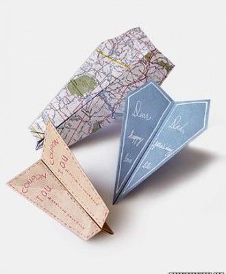 DIY paper airplane cards from Martha Stewart