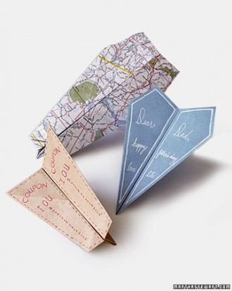 DIY paper airplane cards from Martha Stewart