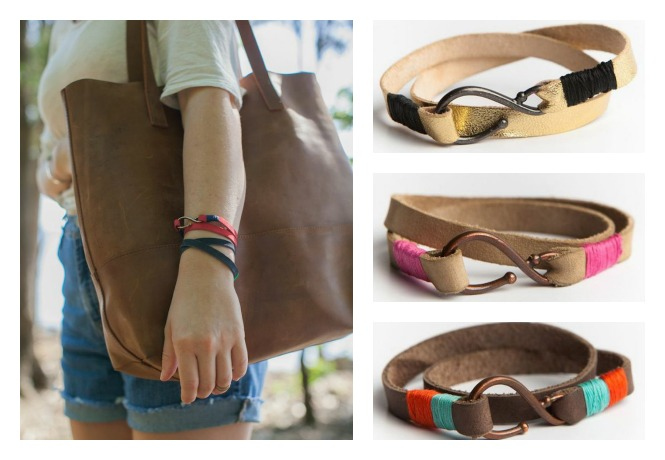 Leather wrap bracelets with a big heart to help little hearts