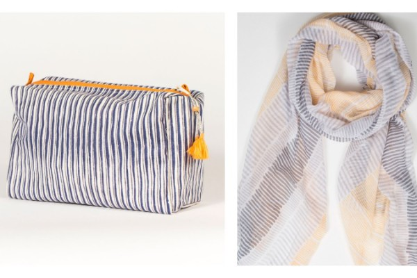 Handmade travel bags + scarves by Hallie Gray