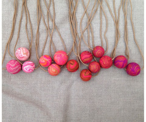 Marbelous handmade necklaces in pink | Cool Mom Picks
