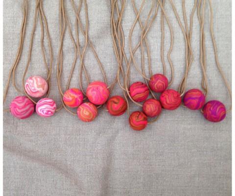 Marbelous handmade necklaces in pink | Cool Mom Picks