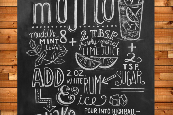 Mojito recipe chalkboard art print by Lily & Val at Scoutmob Shoppe | Cool Mom Picks