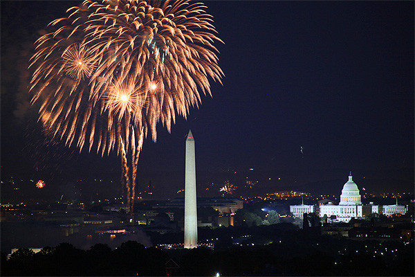 4th of July fireworks over Washington, DC