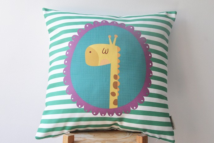 Kids giraffe pillow on Cool Mom Picks indie shop