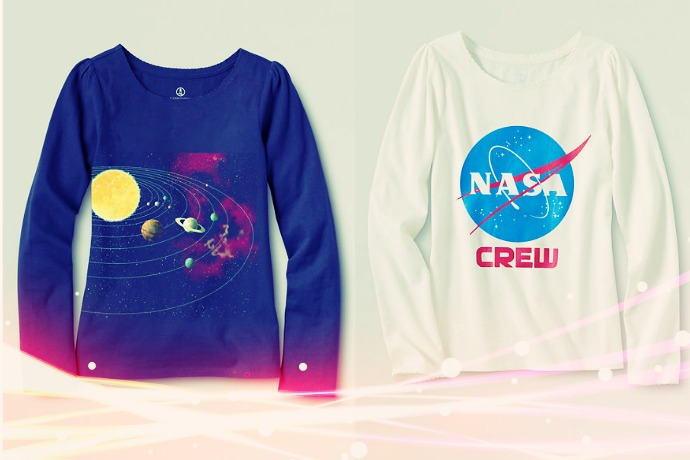 Land's End gets into the girls in STEM trend with cool space tees. Whoo!