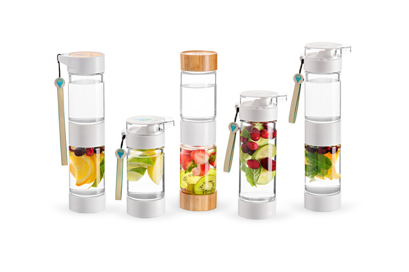 Define Bottles: Fruit-infused water bottles because, yum.