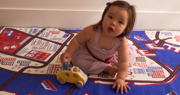 NYC baby playmat by Ella Lou featuring big city maps