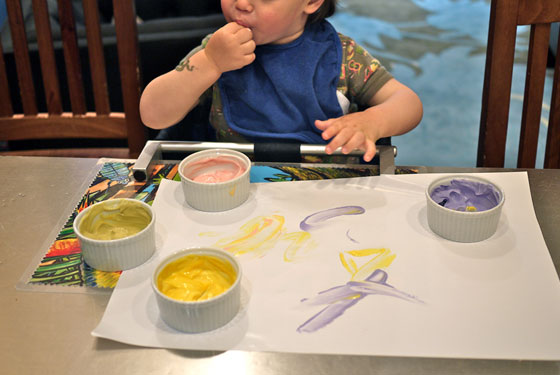 Edible finger paint recipe from One Hungry Mama