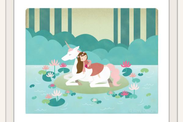 Fairy tale art: Sleeping Beauty with unicorn