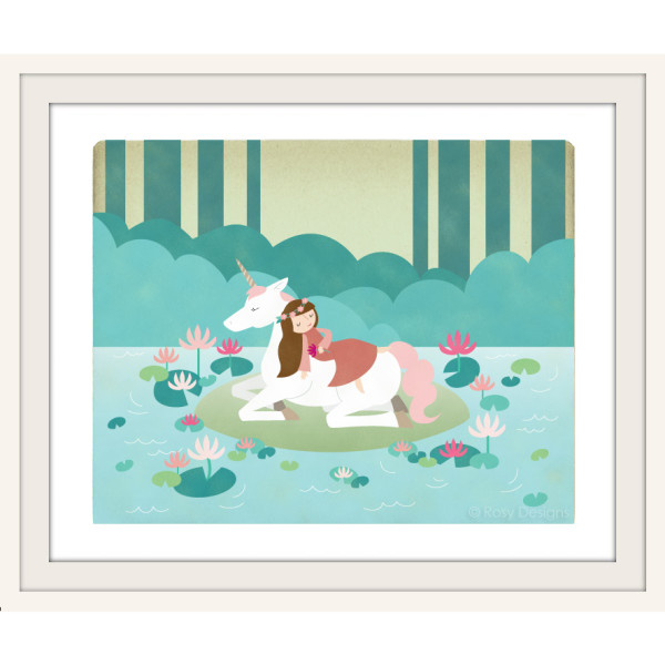 Fairy tale art: Sleeping Beauty with unicorn