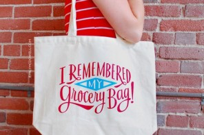 Reusable grocery bags with a sense of humor