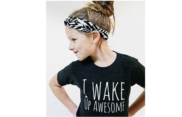 "Fun kids t-shirt: ""I Wake Up Awesome"" from Three Little Numbers"