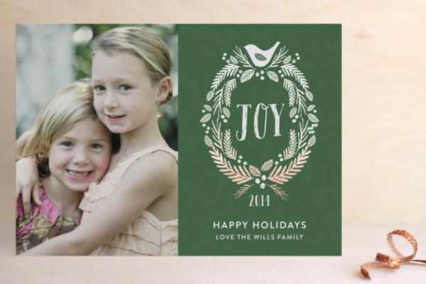 Foil pressed holiday cards at Minted | Woodland Monogram by Robin Ott Design