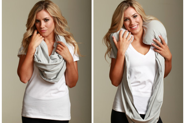 Sleeper Scarf converts to a hidden inflatable neck pillow for travel