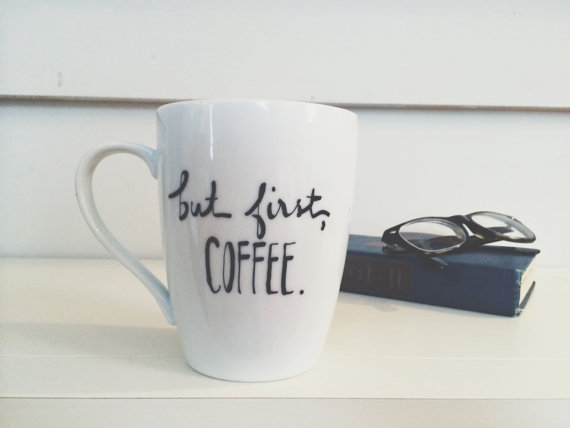 Funny coffee mugs roundup on coolmompicks.com : But first, coffee mug by Avenue Blue