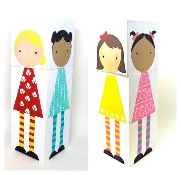 Handmade mix and match doll blocks by Abby Jacobs