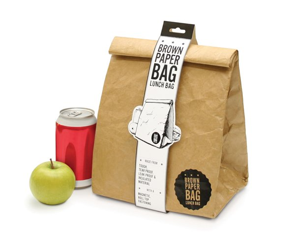 Reusable brown paper lunch bag by Luckies of London