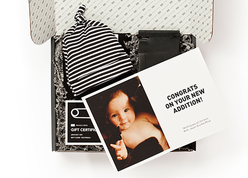 Oh, Baby! Hip personalized baby gift boxes from Pinhole Press