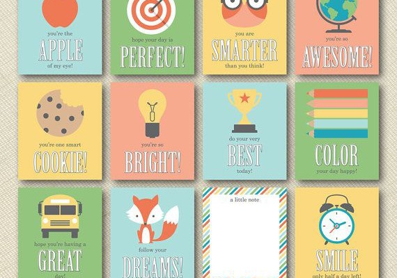 Printable lunchbox notes on Etsy