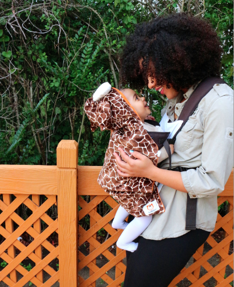 Cuddleroo animal baby carrier covers that double as Halloween costumes
