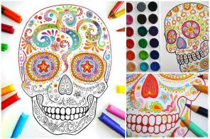 Color sugar skulls for Dia de los Muertos.