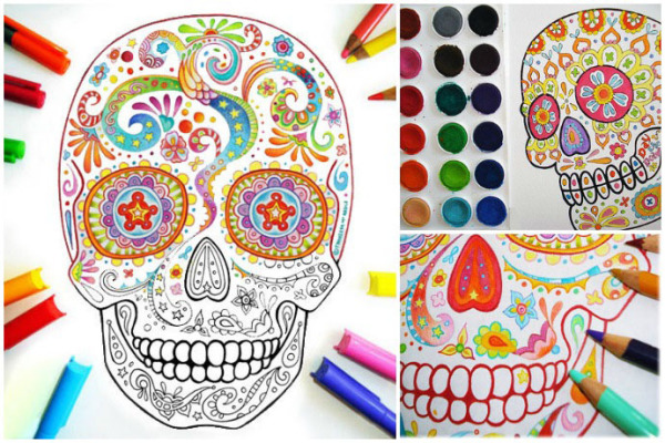 Sugar skull coloring pages by thaneeya are perfect fun for Dia de los Muertos!