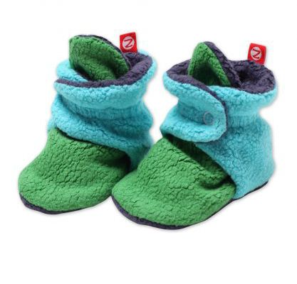 New Zutano color block baby booties in three adorable color palates