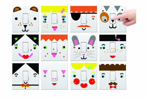 Fun light switch stickers for kids from Mustard's Mood Lighting
