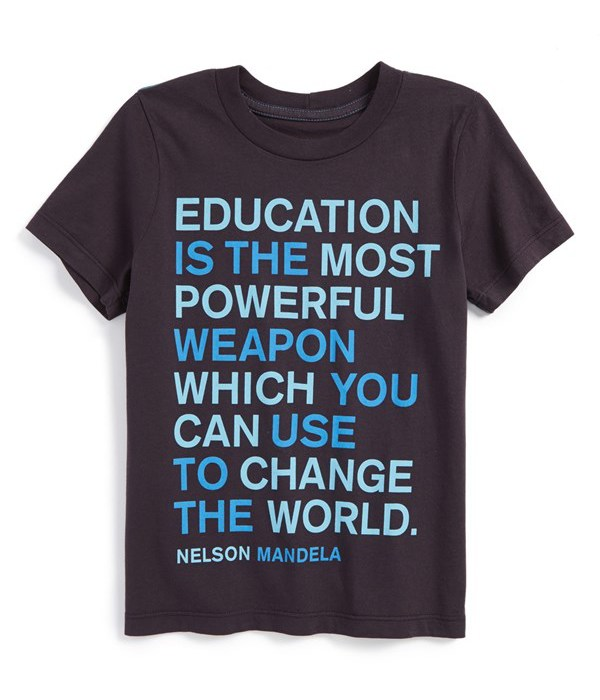 We love finding smart t-shirts for boys, like this Mandela quote shirt by Peek
