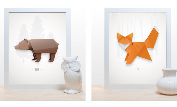 Origami art prints: fox and bear from Noodlehug