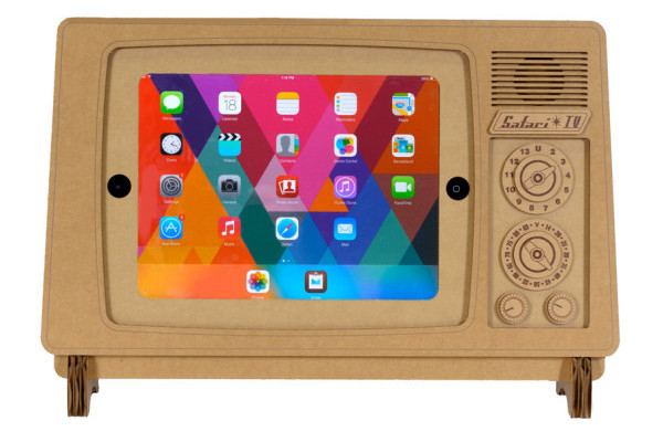 Retro TV cardboard iPad stand from Safari Cardboard