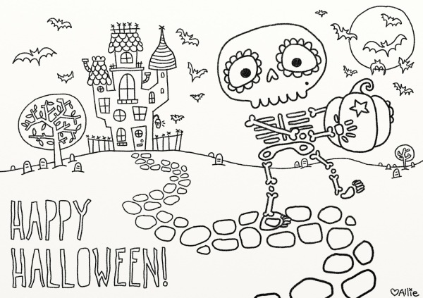 Free skeleton Halloween coloring page printable at Vice Vega