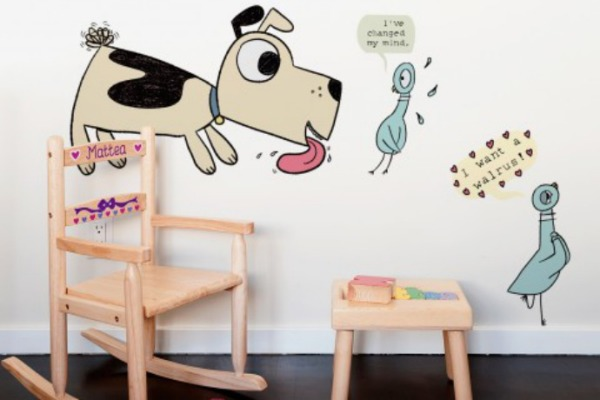 Mo Willems Wall Decals featuring Pigeon and Puppy by Blik