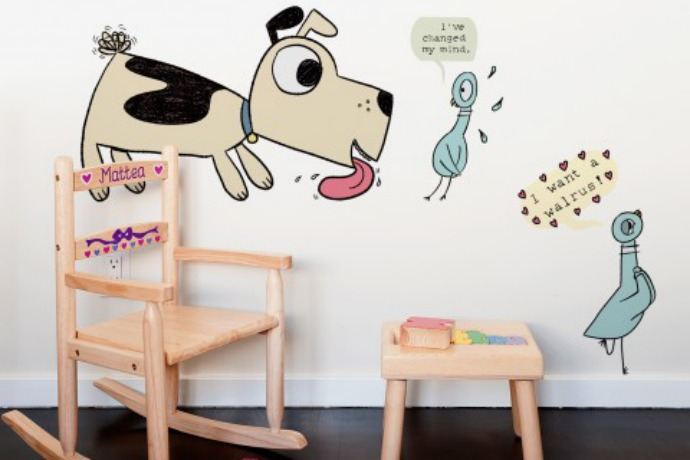 Mo Willems wall decals are here! (A.K.A. Don't let the pigeon get his hands on the dry erase markers.)