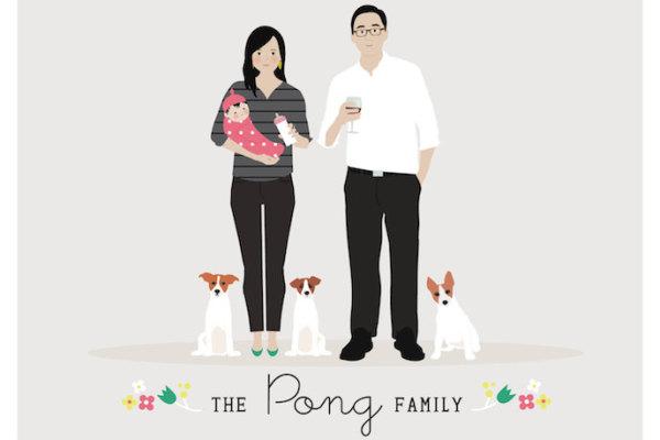 Custom family portrait art by Henry James studio