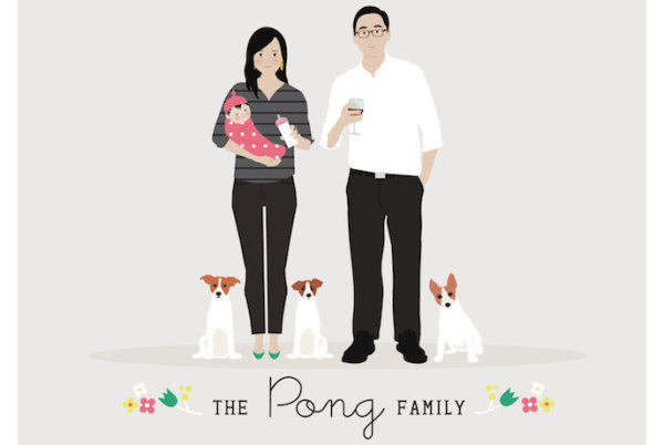 Custom family portrait art by Henry James studio