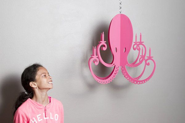 Pink octopus chandelier by Nicole Ketchum makes an awesome kid's chandelier