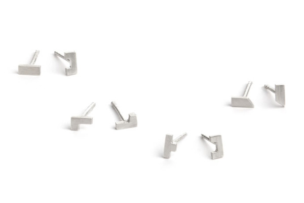Architectural jewelry: Joinery series earrings from Pico Designs